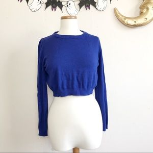 Vintage Inspired Cropped Royal Blue Sweater